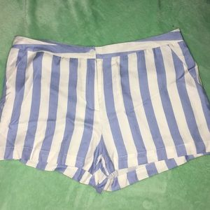 Striped white and blue mini shorts